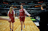 Dallas, TX - Friday March 31, 2017: Kaylee Johnson prior to the NCAA National Semifinal Game between the women's basketball teams of Stanford and South Carolina at the American Airlines Center.