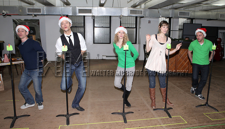 Garth Kravits, Justin Guarini, Lauren Molina, Jill Paice & Mark Price   attending the Rehearsal for the Bucks County Playhouse production of 'It's a Wonderful Life - A Live Radio Play' at their rehearsal studios in New York City on December 5, 2012.