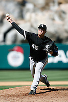 Bobby Jenks of the Chicago White Sox during a 2007 MLB season game against the Los Angeles Angels at Angel Stadium in Anaheim, California. (Larry Goren/Four Seam Images)