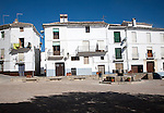 Historic whitewashed buildings in Plaza de los Presos, Alhama de Granada, Spain