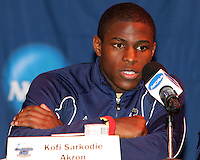 Kofi Sarkodie #8 of the University of Akron at a post game press conference after the 2010 College Cup semi-final against the University of Michigan at Harder Stadium, on December 10 2010, in Santa Barbara, California.Akron won 2-1.