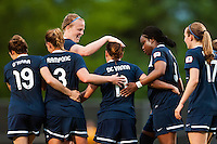 Sky Blue FC forward Lisa De Vanna (11) celebrates scoring with teammates . Sky Blue FC defeated the Seattle Reign FC 2-0 during a National Women's Soccer League (NWSL) match at Yurcak Field in Piscataway, NJ, on May 11, 2013.