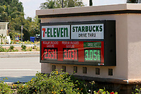 LOS ANGELES - APR 11:  7-Eleven gas signage at the Businesses reacting to COVID-19 at the Hospitality Lane on April 11, 2020 in San Bernardino, CA