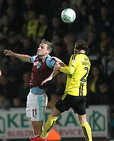 Burnley's Chris Wood battles with Burton Albion's John Brayford<br /> <br /> Photographer Mick Walker/CameraSport<br /> <br /> The Carabao Cup Round Three   - Burton Albion  v Burnley - Tuesday  25 September 2018 - Pirelli Stadium - Buron On Trent<br /> <br /> World Copyright © 2018 CameraSport. All rights reserved. 43 Linden Ave. Countesthorpe. Leicester. England. LE8 5PG - Tel: +44 (0) 116 277 4147 - admin@camerasport.com - www.camerasport.com