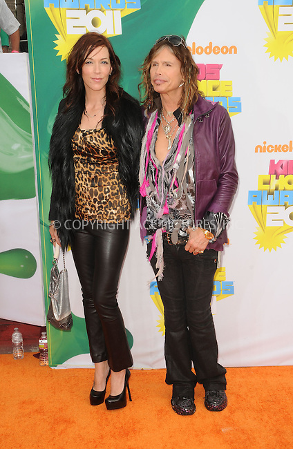 WWW.ACEPIXS.COM . . . . . ....April 2 2011, Los Angeles....Singer Steven Tyler (R) and Erin Brady arriving at Nickelodeon's 24th Annual Kids' Choice Awards at Galen Center on April 2, 2011 in Los Angeles, CA....Please byline: PETER WEST - ACEPIXS.COM....Ace Pictures, Inc:  ..(212) 243-8787 or (646) 679 0430..e-mail: picturedesk@acepixs.com..web: http://www.acepixs.com
