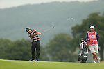 Ryder Cup star Francesco Molinari hits his second to the 18th during the first round of the ISPS Handa Wales Open 2013 at the Celtic Manor Resort<br /> <br /> 29.08.13<br /> <br /> ©Steve Pope-Sportingwales