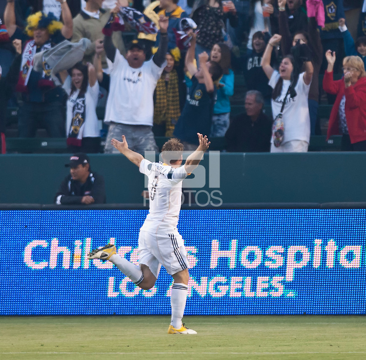 CARSON, CA – June 11, 2011: LA Galaxy midfielder Chris Birchall (8) celebrates his goal during the match between LA Galaxy and Toronto FC at the Home Depot Center in Carson, California. Final score LA Galaxy 2, Toronto FC 2.