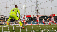 Luke O'Nien of Wycombe Wanderers scores his goal during the Sky Bet League 2 match between Wycombe Wanderers and Stevenage at Adams Park, High Wycombe, England on 12 March 2016. Photo by Andy Rowland/PRiME Media Images.