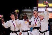 LONDRES, INGLATERRA, 31 AGOSTO 2012 - PARAOLIMPIADAS JUDO - A brasileira Daniele Bernardes (3D) conquistou, nesta sexta-feira, na ExCel Arena, a medalha de bronze na categoria até 63 kg do judô, ao derrotar a venezuelana Naomi Soazo, por ippon. Foi a segunda medalha brasileira na modalidade dos Jogos Olímpicos de Londres. (FOTO: GEORGINA GARCIA / BRAZIL PHOTO PRESS).