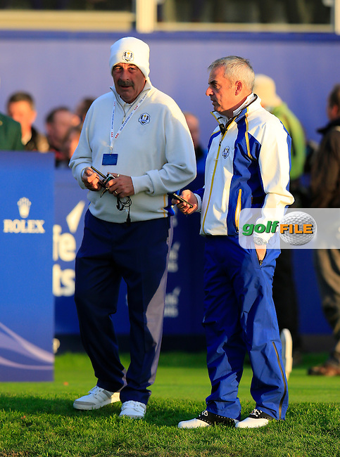Sam Torrance and Pul McGinley (EUR) during the Saturday morning Fourballs of the 2014 Ryder Cup at Gleneagles. The 40th Ryder Cup is being played over the PGA Centenary Course at The Gleneagles Hotel, Perthshire from 26th to 28th September 2014.: Picture Eoin Clarke, www.golffile.ie / www.golftouri,ages.com: \27/09/2014\