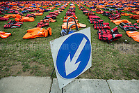 "19.09.2016 - ""Lifejacket Graveyard"" in London's Parliament Square #UN4RefugeesMigrants"