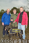 TRIAL: John,Syliva and Brendan Begley with the Reserve Oaks Trial Stake Cup at the Abbeydorney Coursing on Sunday in which they won...