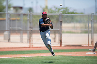 Cleveland Indians third baseman Henderson De Oleo (30) makes a throw to first base during an Extended Spring Training game against the Arizona Diamondbacks at the Cleveland Indians Training Complex on May 27, 2018 in Goodyear, Arizona. (Zachary Lucy/Four Seam Images)