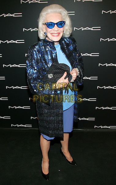 ANNE SLATER.At the MAC Chinese New Year Party to kick off Olympus Fashion Week 2006, Eyebeam, New York, NY, USA,  .02nd February, 2006..full length blue glasses coat jacket skirt sequined.Ref: ADM/JL.www.capitalpictures.com.sales@capitalpictures.com.©Jackson Lee/AdMedia/Capital Pictures.