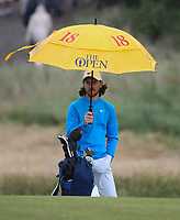 Still has his trolley - Tommy Fleetwood (ENG) during Round One of the 148th Open Championship, Royal Portrush Golf Club, Portrush, Antrim, Northern Ireland. 18/07/2019. Picture David Lloyd / Golffile.ie<br /> <br /> All photo usage must carry mandatory copyright credit (© Golffile | David Lloyd)