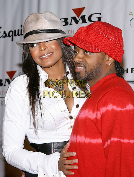 JANET JACKSON & JERMAINE DUPRI .Clive Davis Hosts A Celebration Of The American Music Awards held at The Esquire House. .14 November 2004.half length, red top, hat, fedora.www.capitalpictures.com.sales@capitalpictures.com.© Capital Pictures.