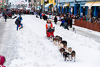 Meredith Mapes during the ceremonial start of the 2018 Iditarod in Anchorage, Alaska on Saturday, March 3, 2018.<br /> <br /> Photo by Jeff Schultz/SchultzPhoto.com  (C) 2018  ALL RIGHTS RESERVED