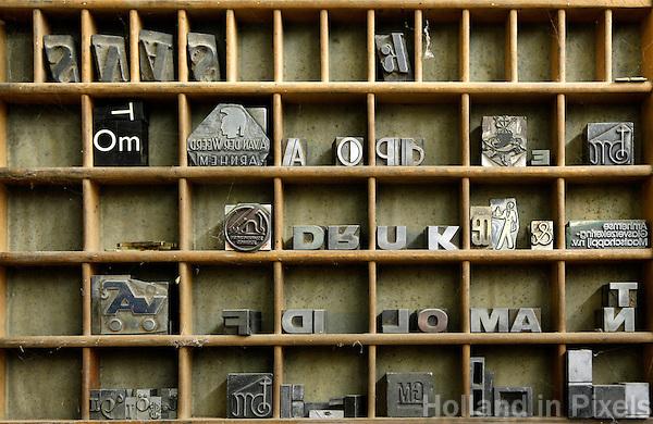 Nederland Arnhem 2015.  Letterbak in de drukkerij in het Nederlands Openluchtmuseum.  Foto Berlinda van Dam / Nederlandse Hoogte