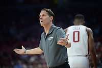 NWA Democrat-Gazette/ANDY SHUPE<br /> Arkansas coach Eric Musselman pleads with a referee Saturday, Nov. 30, 2019, during the second half of play against Northern Kentucky in Bud Walton Arena. Visit nwadg.com/photos to see more photographs from the game.