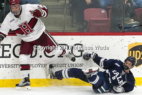 - The Harvard University Crimson tied the visiting Yale University Bulldogs 1-1 on Saturday, January 21, 2017, at the Bright-Landry Hockey Center in Boston, Massachusetts.