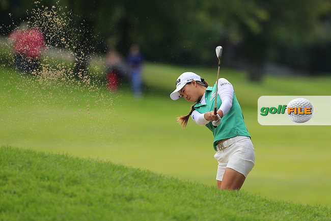 Minjee Lee (AUS) plays her 2nd shot on the 13th hole during Sunday's Final Round of the LPGA 2015 Evian Championship, held at the Evian Resort Golf Club, Evian les Bains, France. 13th September 2015.<br /> Picture Eoin Clarke | Golffile
