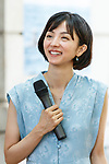 Japanese actress and singer Hikari Mitsushima attends news conference at the National Museum of Nature and Science in Tokyo on July 31, 2018, Tokyo, Japan. The museum aims to collect 30 million yen to recreate the Japanese ancestors' journey between Taiwan and Yonaguni Island on a wooden dugout canoe. (Photo by Rodrigo Reyes Marin/AFLO)