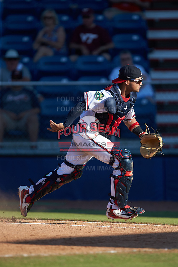 Danville Braves catcher Ricardo Rodriguez (49) chases after a wild pitch during the game against the Bristol Pirates at American Legion Post 325 Field on July 1, 2018 in Danville, Virginia. The Braves defeated the Pirates 3-2 in 10 innings. (Brian Westerholt/Four Seam Images)