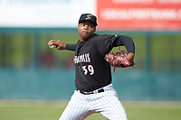 Kannapolis Intimidators relief pitcher Luis Ledo (39) in action against the Hagerstown Suns at Kannapolis Intimidators Stadium on May 6, 2018 in Kannapolis, North Carolina. The Intimidators defeated the Suns 4-3. (Brian Westerholt/Four Seam Images)
