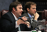 Nevada Assembly Democrats James Ohrenschall and Elliot Anderson work in committee at the Legislative Building in Carson City, Nev., on Tuesday, March 17, 2015. <br /> Photo by Cathleen Allison