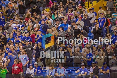4 April 2015:  Baseball Fans cheer the Toronto Blue Jays at Olympic Stadium prior to a pre-season exhibition game against the Cincinnati Reds in Montreal, Quebec, Canada. The Blue Jays defeated the Reds 9-1 in the second of two MLB weekend exhibition games. Mandatory Credit: Ed Wolfstein Photo *** RAW (NEF) Image File Available ***