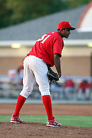 August 3rd 2008:  Pitcher Hector Cardenas of the Batavia Muckdogs, Class-A affiliate of the St. Louis Cardinals, during a game at Dwyer Stadium in Batavia, NY.  Photo by:  Mike Janes/Four Seam Images