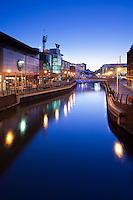Riverside on the Oracle shopping centre in Reading at Dusk, Berkshire, Uk