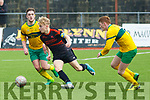 St Brendan's Park's Adam Ward in action as Ballingarry's Pa Gallagher and Josh O'Connor close in on him during their encounter in the Munster Youth Cup Quarter-Final in Mounthawk Park on Saturday last.