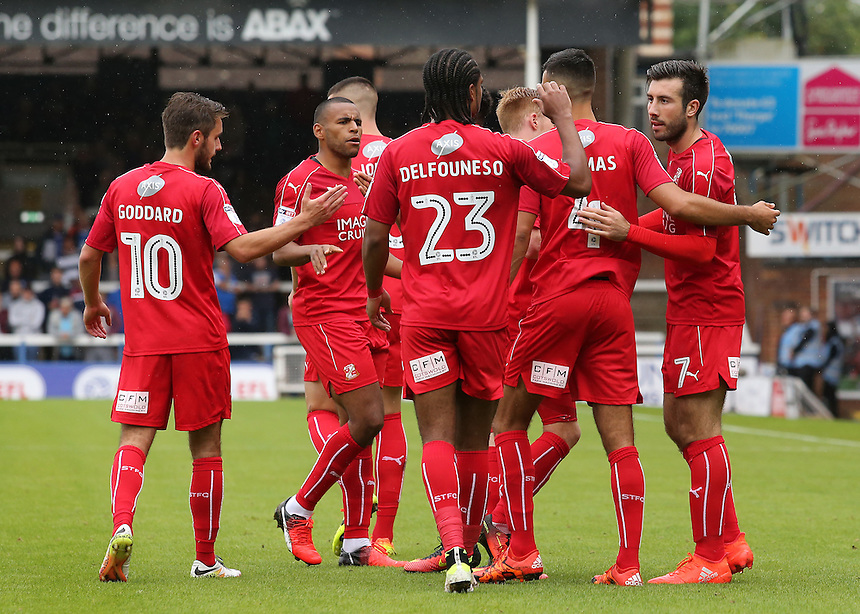 Swindon Town celebrate after Michael Doughty draws them level from the penalty spot (1-1)<br /> <br /> Photographer David Shipman/CameraSport<br /> <br /> The EFL Sky Bet League One - Peterborough v Swindon Town - Saturday 3 September 2016 -  ABAX Stadium - Peterborough<br /> <br /> World Copyright &copy; 2016 CameraSport. All rights reserved. 43 Linden Ave. Countesthorpe. Leicester. England. LE8 5PG - Tel: +44 (0) 116 277 4147 - admin@camerasport.com - www.camerasport.com