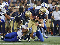 Annapolis, MD - October 7, 2017: Navy Midshipmen quarterback Zach Abey (9) gets tackled during the game between Air Force and Navy at  Navy-Marine Corps Memorial Stadium in Annapolis, MD.   (Photo by Elliott Brown/Media Images International)