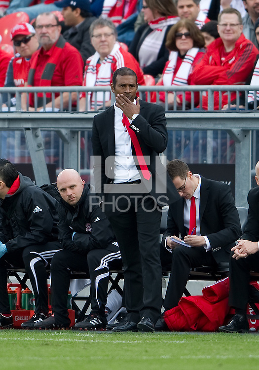 23 April 2011: Toronto FC head coach Aron Winter watches the action during a game between the Columbus Crew and the Toronto FC at BMO Field in Toronto, Ontario Canada..The game ended in a 1-1 draw.