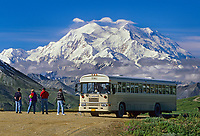 Tourists View Mt. Denali, From Stony Dome Turnout Along The Denali Park Road. Denali National Park, Alaska