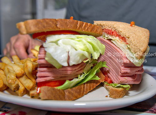 Jeffrey N. Gildenhorn, owner of the American City Diner, 5532 Connecticut Ave, NW; Washington, DC 20015, shows his latest creation, the Trump Sandwich: Full of Bologna, at the diner in Washington, DC on Tuesday, August 11, 2015.<br /> Credit: Ron Sachs / CNP<br /> (RESTRICTION: NO New York or New Jersey Newspapers or newspapers within a 75 mile radius of New York City)