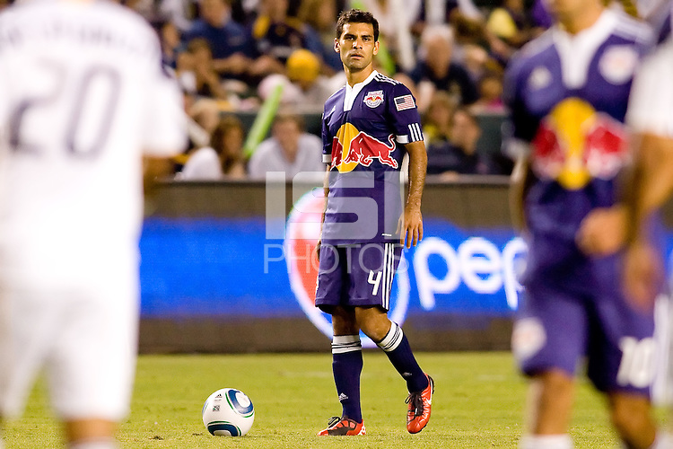 Midfielder Rafael Marquez of the New York Red Bulls prepares for a free kick. The New York Red Bulls beat the LA Galaxy 2-0 at Home Depot Center stadium in Carson, California on Friday September 24, 2010.