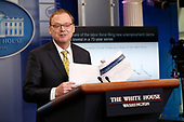 White House Council of Economic Advisers Chair Kevin Hassett presents an update on the economy to reporters gathered for the daily press briefing at the White House, in Washington, D.C., on June 5, 2018.<br /> Credit: Martin H. Simon / CNP