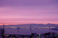 City; dawn; Bay Bridge; dawn; Telegraph Hill. San Francisco California.