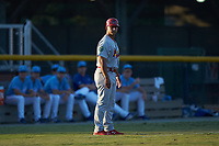 Johnson City Cardinals manager Roberto Espinoza (41) coaches third base during the game against the Burlington Royals at Burlington Athletic Stadium on September 3, 2019 in Burlington, North Carolina. The Cardinals defeated the Royals 7-2 to even Appalachian League Championship series at one game a piece. (Brian Westerholt/Four Seam Images)