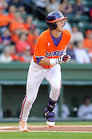 Infielder Steve Wilkerson (17) of the Clemson Tigers in a game against the Furman Paladins on Wednesday, May 8, 2013, at Fluor Field at the West End in Greenville, South Carolina. (Tom Priddy/Four Seam Images)