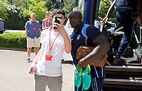 Adebayo Akinfenwa of Wycombe Wanderers poses for a fan before the Sky Bet League 2 match between Crawley Town and Wycombe Wanderers at Broadfield Stadium, Crawley, England on 6 August 2016. Photo by Alan  Stanford / PRiME Media Images.
