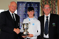 Jimmy Duggan (Hon Sec Connacht Golf) with John Dempsey (Captain Gort Golf Club) presents the Connacht U16 Boys Cup to Sam Murphy (Portumna) winner of the Connacht U16 Boys Open 2018 at the Gort Golf Club, Gort, Galway, Ireland on Wednesday 8th August 2018.<br /> Picture: Thos Caffrey / Golffile<br /> <br /> All photo usage must carry mandatory copyright credit (&copy; Golffile   Thos Caffrey)