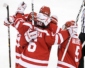 The Terriers celebrate as Joe Pereira (BU - 6) cut BC's lead to one goal. - The Boston College Eagles defeated the visiting Boston University Terriers 5-2 on Saturday, December 4, 2010, at Conte Forum in Chestnut Hill, Massachusetts.
