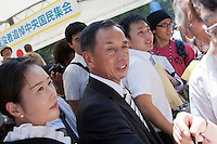 Toshio Tamagami is greated by right wingers at the commemorations of the end of the Pacific War on August 15th at Tokyo controversial Yasukuni shrine. Tokyo, Japan, Monday August 15th 2011 tamogami San is a former Japan Air-Self Defense Force chief of staff who was fired in 2008 after publishing an essay in which he expressed revisionist views of Japan's war-time aggression.