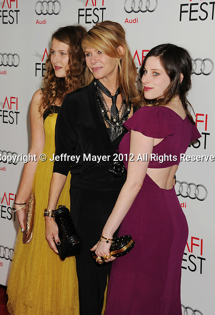 HOLLYWOOD, CA - NOVEMBER 08: Destry Allyn Spielberg, Kate Capshaw and Sasha Spielberg  arrive at the 'Lincoln' premiere during the 2012 AFI FEST at Grauman's Chinese Theatre on November 8, 2012 in Hollywood, California.