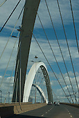 Brasilia, Brazil. The Juscelino Kubitschek Bridge, also known as Ponte JK, Ponte Novo, crossing the Lago Sul.