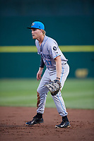 Hudson Valley Renegades first baseman Jacson McGowan (37) during a game against the Connecticut Tigers on August 20, 2018 at Dodd Stadium in Norwich, Connecticut.  Hudson Valley defeated Connecticut 3-1.  (Mike Janes/Four Seam Images)
